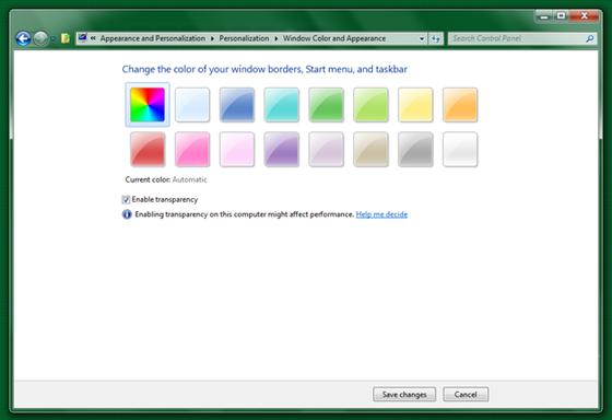 """...практически не изменилось по сравнению с Windows 7. Однако если нажать ссылку  """"Цвет окна """" (Window Color), можно..."""