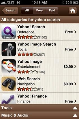 Yahoo! App Search: найди свое мобильное приложение