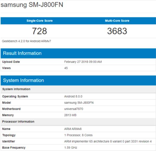 Samsung Galaxy J8 на Geekbench