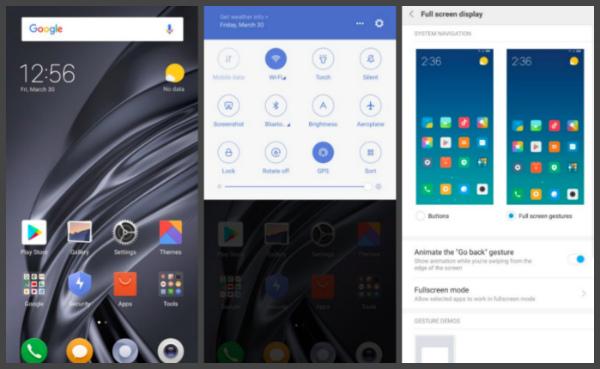 пользовательский интерфейс Xiaomi Mi MIX 2S