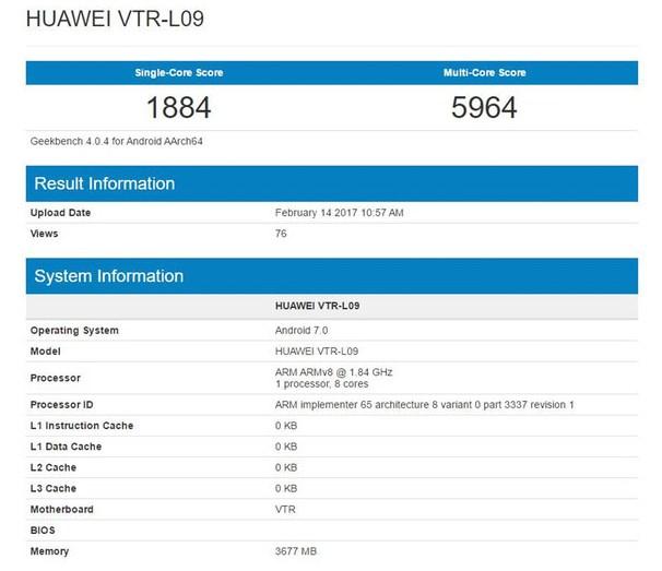 Смартфон Huawei P10 засветился вGeekbench
