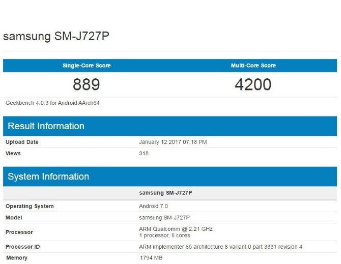 ВGeekbench замечен новый Самсунг Galaxy J1