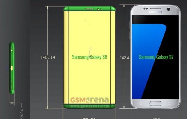 Стали известны габаритные размеры телефонов Самсунг Galaxy S8 иS8 Plus