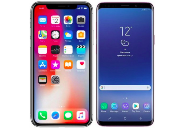iPhone X, Galaxy S9